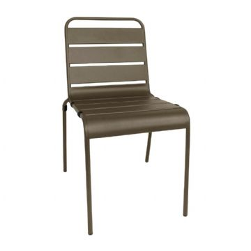 Slatted Steel Sidechair - Coffee